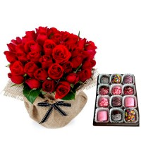 18  Red Roses with Box Of Chocolate Dipped Marshmallows