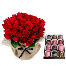 AMORE COLLECTION3: 18 Red Roses in canvas wrapping with  Chocolate Dipped Marshmallows
