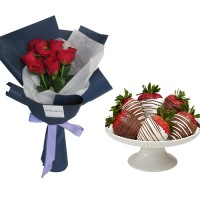 Mon Amour: Red Roses with small box of Chocolate dipped Strawberries