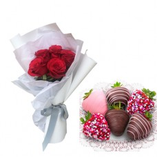 Mon Amour: Red Roses in White wrapping with chocolate strawberries