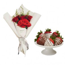 Mon Amour: Red Roses in White wrapping with chocolate strawberries II