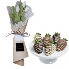 Mon Amour: White Tulips mini bouquet with mini Chocolate dipped Strawberries
