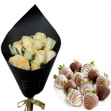 Mon Amour: Champagne Roses with chocolate dipped strawberries