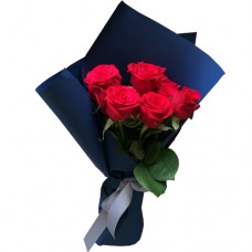 Valentine's Collection: RED Roses  Bouquet in the dark blue wrapping
