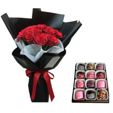 SYMPHONY COLLECTION: Red Roses in black wrapp and Chocolate dipped Marshmallows II