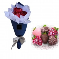 Mon Amour: Mini Red Tulip's bouquet with mini Chocolate dipped Strawberries box