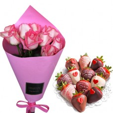 Mon Amour: Pink / Red Roses with Chocolate covered Strawberries