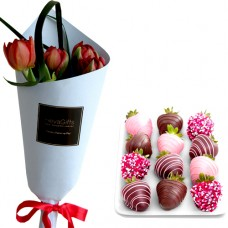 Mon Amour: Red/Pink Tulips with chocolate covered strawberries