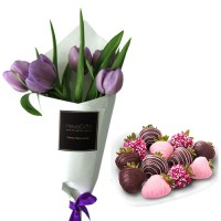 Mon Amour: Violet tulips with chocolate dipped strawberries