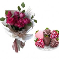 Love Collection: Pink Roses with Strawberries dipped in Chocolate