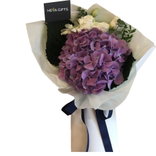 PROSPERITY COLLECTION: Purple Hydrangea mix with white roses and eucalyptus