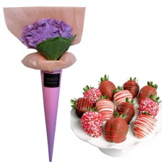 LOVE COLLECTION:  Hydrangea with Chocolate Dipped Strawberries