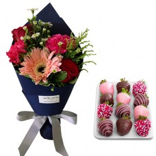 SEPTEMBER COLLECTION: Mix Flower bouquet with chocolate dipped strawberries