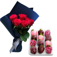 Mon Amour: Red Roses with Chocolate dipped Strawberries