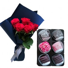 Mon Amour: Red Roses with small box of Chocolate dipped Marshmallows