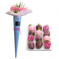 LOVE COLLECTION: Pink Tulip's Conus Bouquet with Chocolate dipped Strawberries