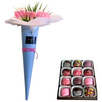 LOVE COLLECTION: Pink Tulip Bouquet with Chocolate Dipped Marshmallows