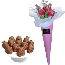 LOVE COLLECTION: Red Tulip Bouquet with Chocolate Covered Strawberries