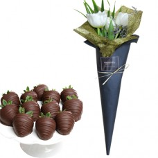 LOVE COLLECTION: White Tulip Bouquet with Chocolate Covered Strawberries