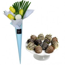 LOVE COLLECTION: Yellow Tulip Bouquet with Chocolate Covered Strawberries