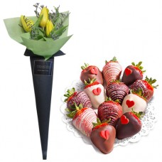 LOVE COLLECTION: Yellow tulips with Chocolate dipped strawberries