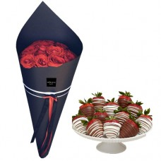 Love Collection: Red Roses with Fresh Strawberries  dipped in Chocolate