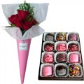 Love Collection: Red Roses with Marshmallow dipped in Chocolate