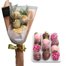 Creamy Roses with chocolate dipped strawberries