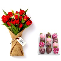 Tulips in Burlap with Chocolate dipped Strawberries