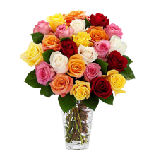 Rainbow Collection: Multi - colored Roses in Glass vase