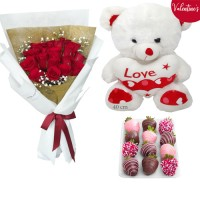 VALENTINE'S COLLECTION: 18 Red Roses with Chocolate dipped Strawberries and Valentine's Teddy (40cm)
