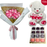 VALENTINE'S COLLECTION: 18 Pink Roses Bouquet with Chocolate dipped Marshmallow and Pink Valentine's Teddy (40cm)