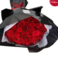 Classic Red Rose bouquet in a black wrapping