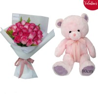 VALENTINE'S COLLECTION: 28 Pink Rose bouquet with BIG Pink Teddy (80cm)