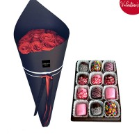 VALENTINE'S COLLECTION: 18 Red Roses with Chocolate dipped Marshmallows