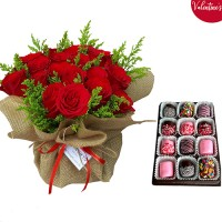 VALENTINE'S COLLECTION: 18 Red Roses in a Canvas arrangement with box of Choco Marshmallow