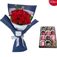 VALENTINE'S COLLECTION: 10 Red Rose bouquet and Choco Marshmallow