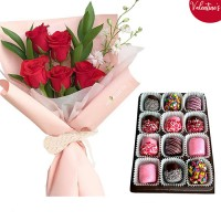 VALENTINE'S COLLECTION:  Red Rose in pink wrapping with Choco Marshmallow