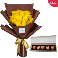 VALENTINE'S COLLECTION: 18 Luxury Yellow Roses and Box of Premium Valentine's Chocolate