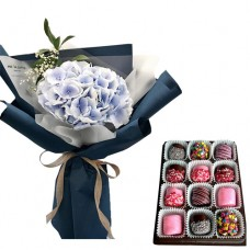 PROSPERITY COLLECTION: Stylish  Hydrangea bouquet with chocolate dipped marshmallows