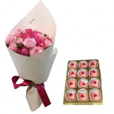 Love Collection: 10Pink  Roses in canvas wrapping with  Chocolate Dipped Marshmallows0
