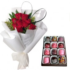 Love Collection: Red Rose bouquet with Box of Chocolate dipped Marshmallow