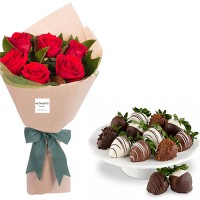 AMORE COLLECTION1:8 RED ROSES WITH CHOCOLATE DIPPED STRAWBERRIES