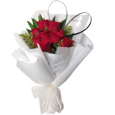Love Collection: 10 Red Roses in white elegant wrapping