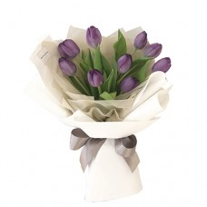 "VALENTINE""S COLLECTION: 9 Purple Tulips Bouquet"