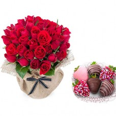 Love Collection: 18 Red Roses in canvas wrapping with  Chocolate Dipped strawberries
