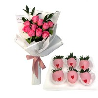VALENTINO COLLECTION: 10 Pink Rose bouquet with chocolate dipped strawberries