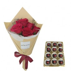 ELEGANCE COLLECTION: Mini Red Roses bouquet with chocolate dipped marshmallows