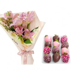 Pink Lily Stylish Bouquet with chocolate covered fresh strawberries