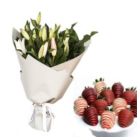 Big White Lily Bouquet with chocolate dipped fresh Strawberries